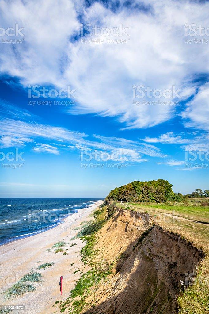 Polish seashore with cliff in Rewal, Poland, Baltic Sea stock photo