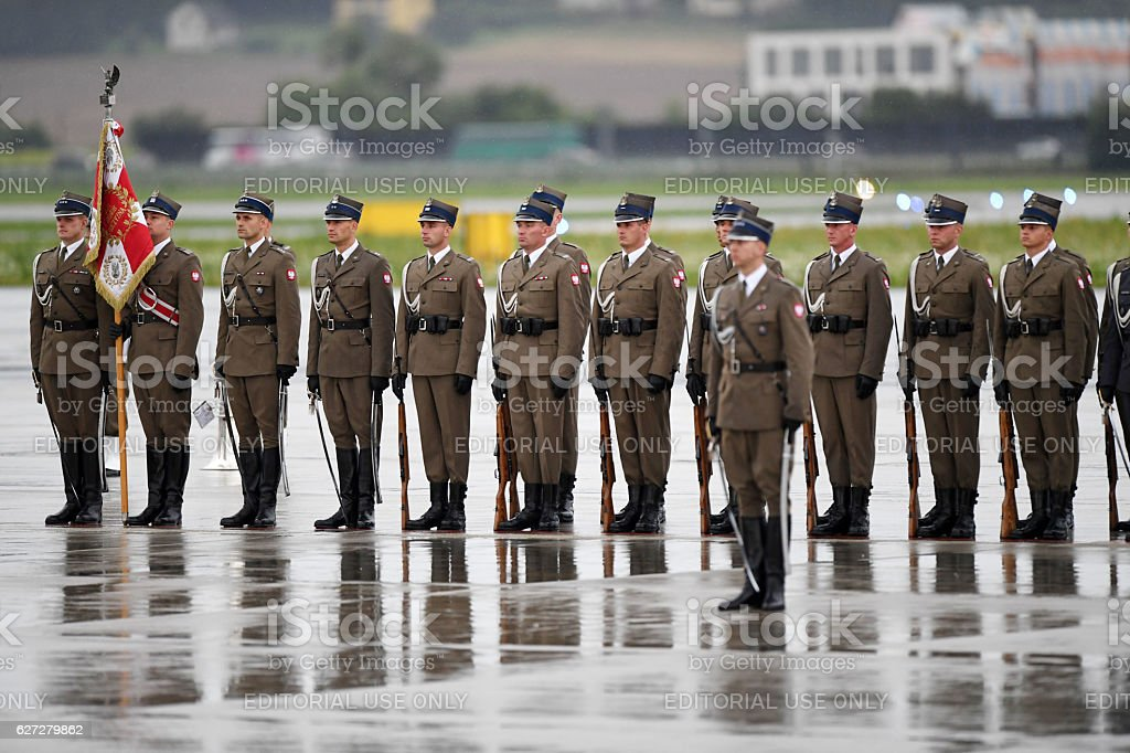Polish Soldiers during Pope Francis departure stock photo