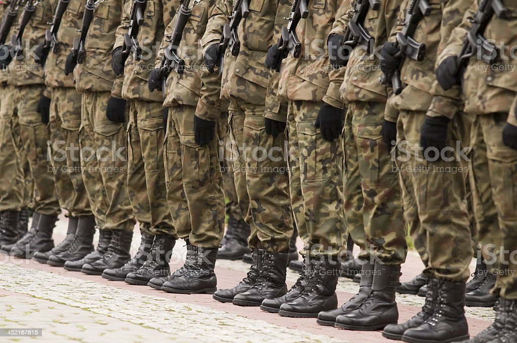 Polish soldiers formation stock photo