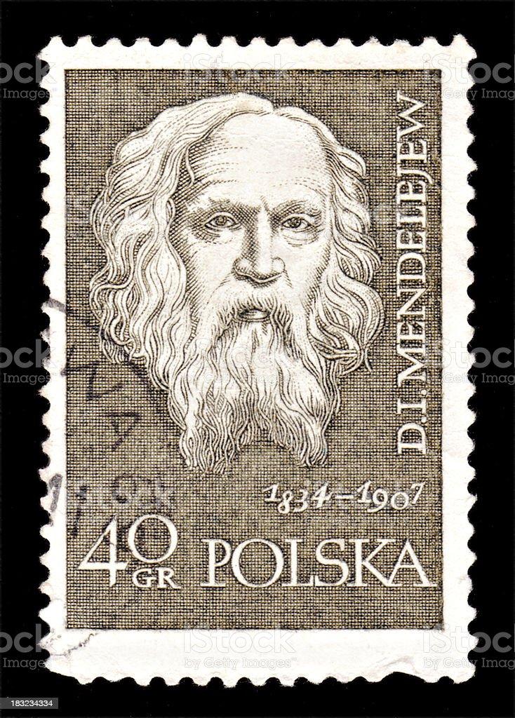 Polish stamp with portreit of Dmitri Ivanovich Mendeleev stock photo
