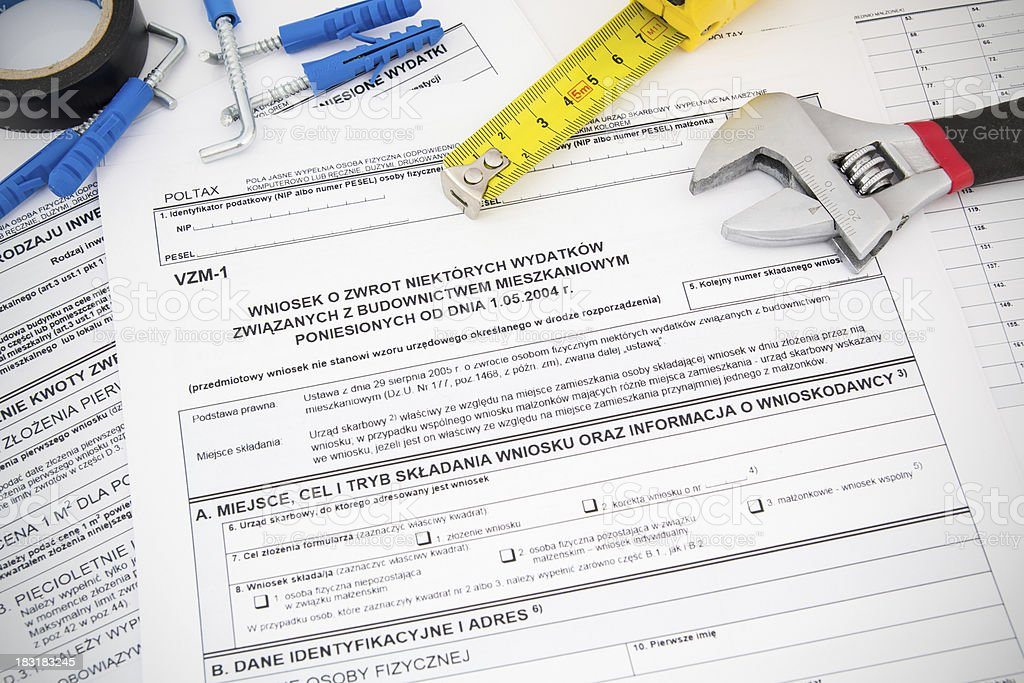 Polish tax form and tools. Credit for home construction. royalty-free stock photo