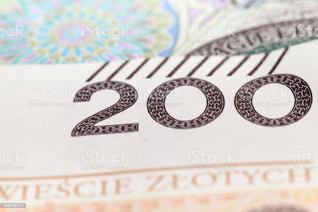 Polish Zloty closeup stock photo