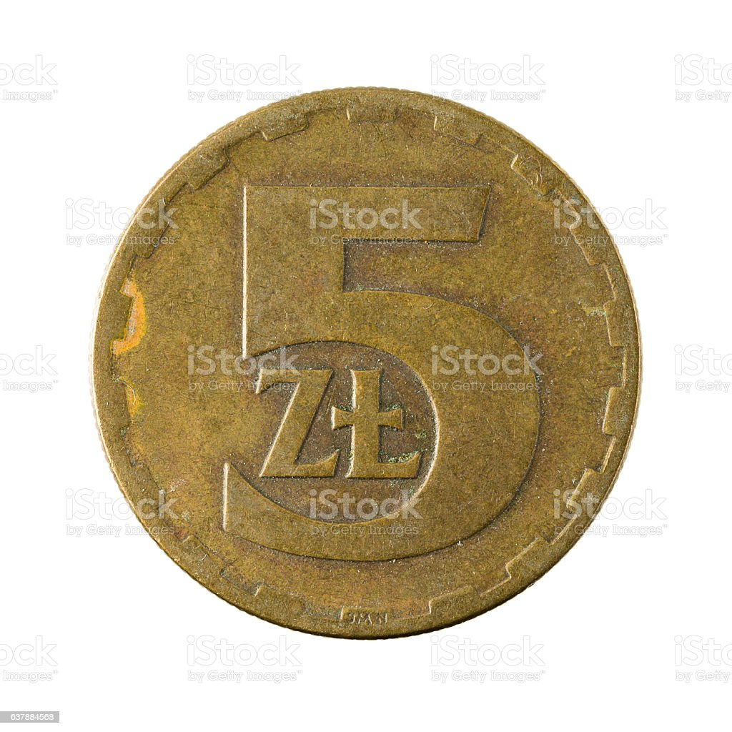 5 polish zloty coin (1976) isolated on white background stock photo