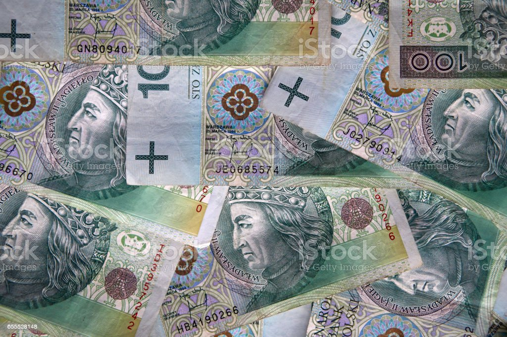 Polish zlotys - Polish currency, 100 PLN bills stock photo