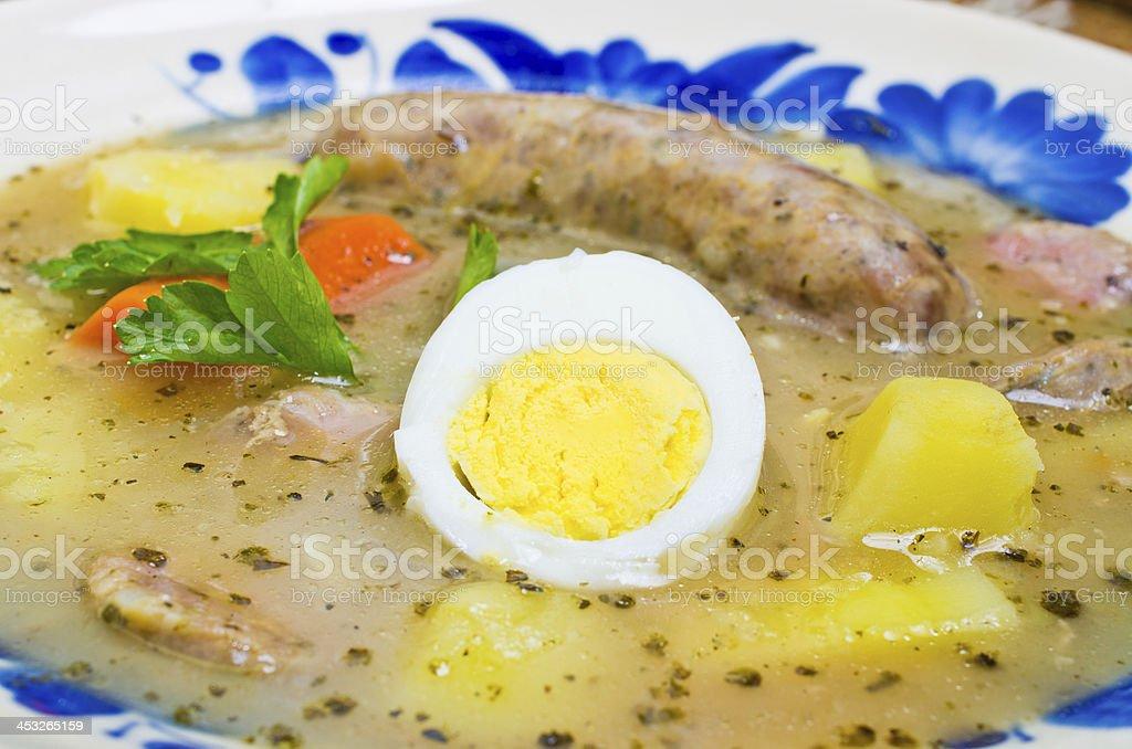 polish Zurek soup (sour-rye soup) royalty-free stock photo