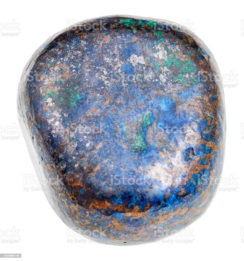 polished blue Azurite gem isolated stock photo