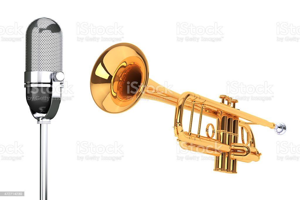 Polished Brass Trumpet with Vintage silver microphon stock photo