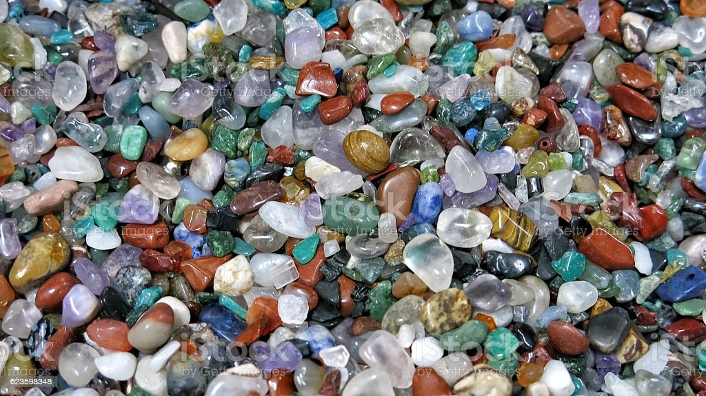 Polished Gemstone Wonderstone Jasper Quartz Amethyst Full Frame Background Wallpaper stock photo