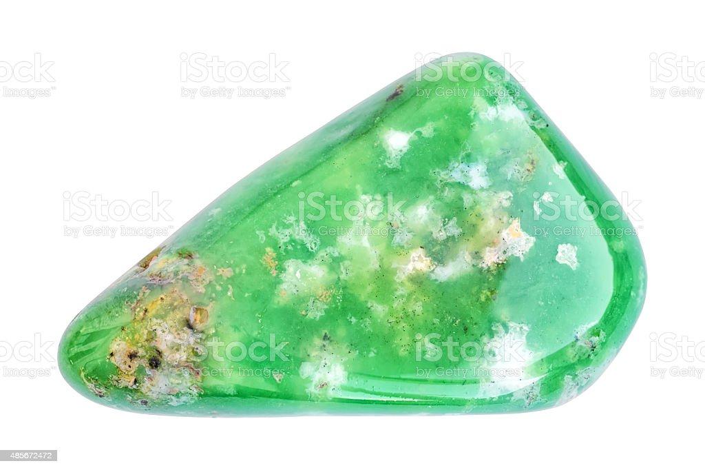 Polished green nephrite gemstone isolated on white stock photo