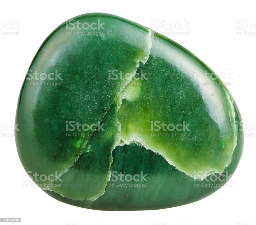 polished green Nephrite (jade) mineral gem stone stock photo