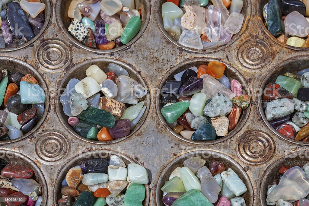 Polished Stones In Baking Tray royalty-free stock photo