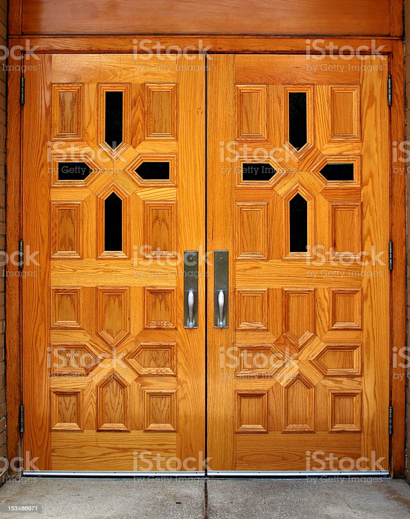 Polished Wooden Church Doors royalty-free stock photo
