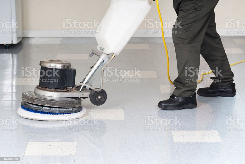Polishing An Office Floor - Janitor Series royalty-free stock photo