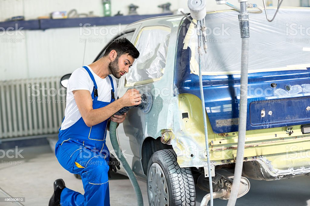 polishing on body car stock photo