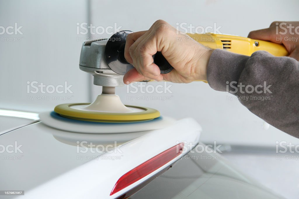 Polishing Roof of a Car stock photo
