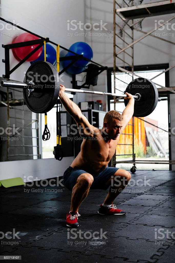 Polishing the clean and jerk stock photo