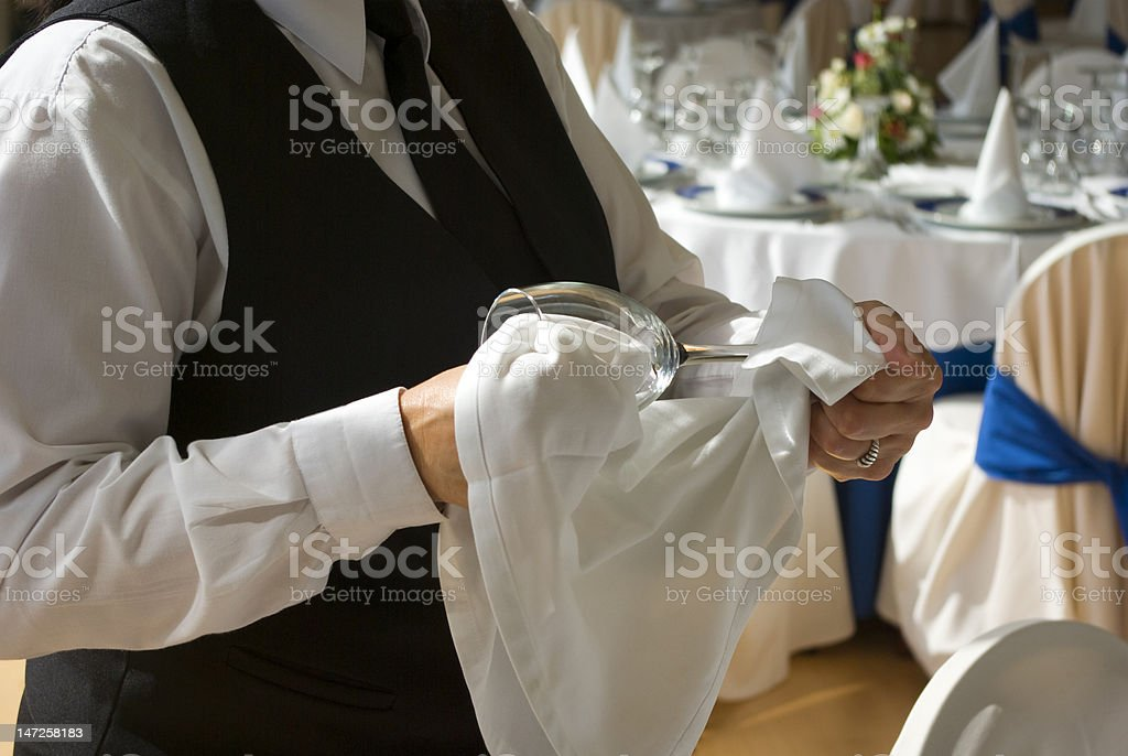 Polishing the cup royalty-free stock photo