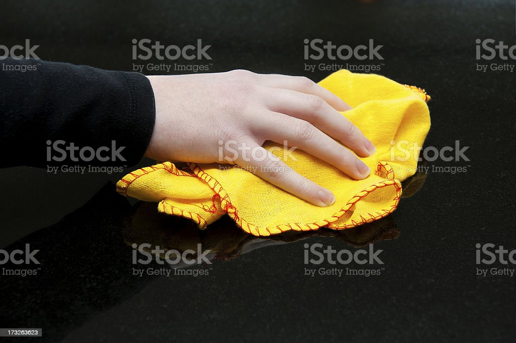 Polishing the work surfaces royalty-free stock photo