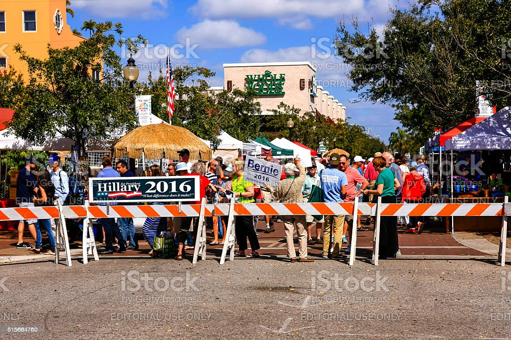 Politcal banners Saturday Farmers market in downtown Sarasota FL stock photo