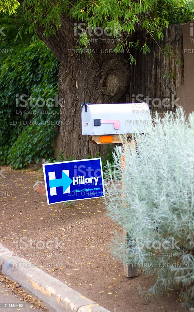Politcal Poster 'Hillary' Near Curb, Mailbox, and Vegetation stock photo