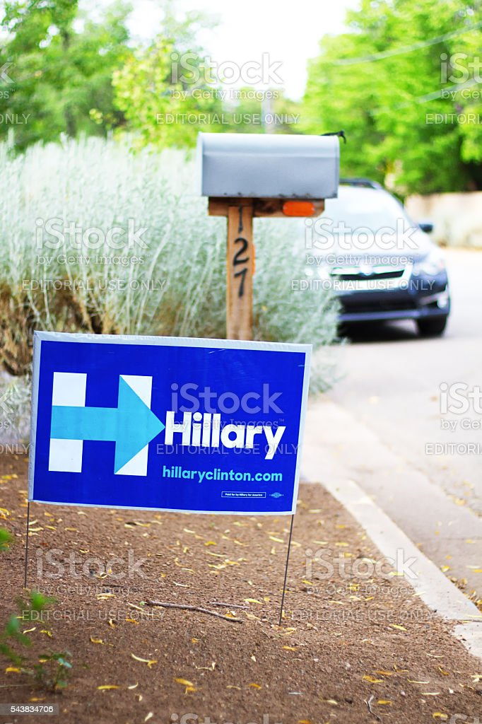 Politcal Poster 'Hillary' Near Street, Mailbox, and Car stock photo