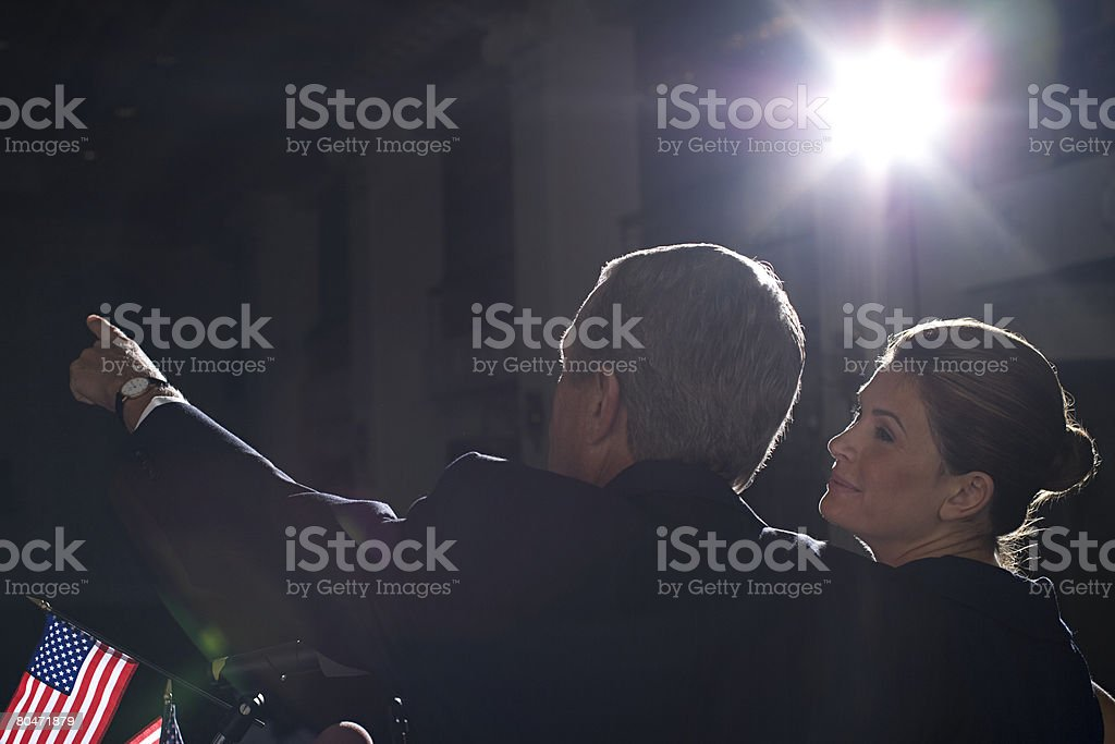 A politcian and his wife on at a political rally stock photo