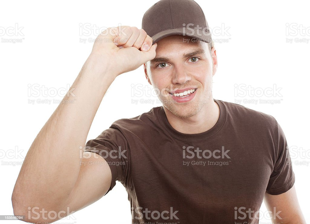 Polite Delivery Man Tips Hat stock photo