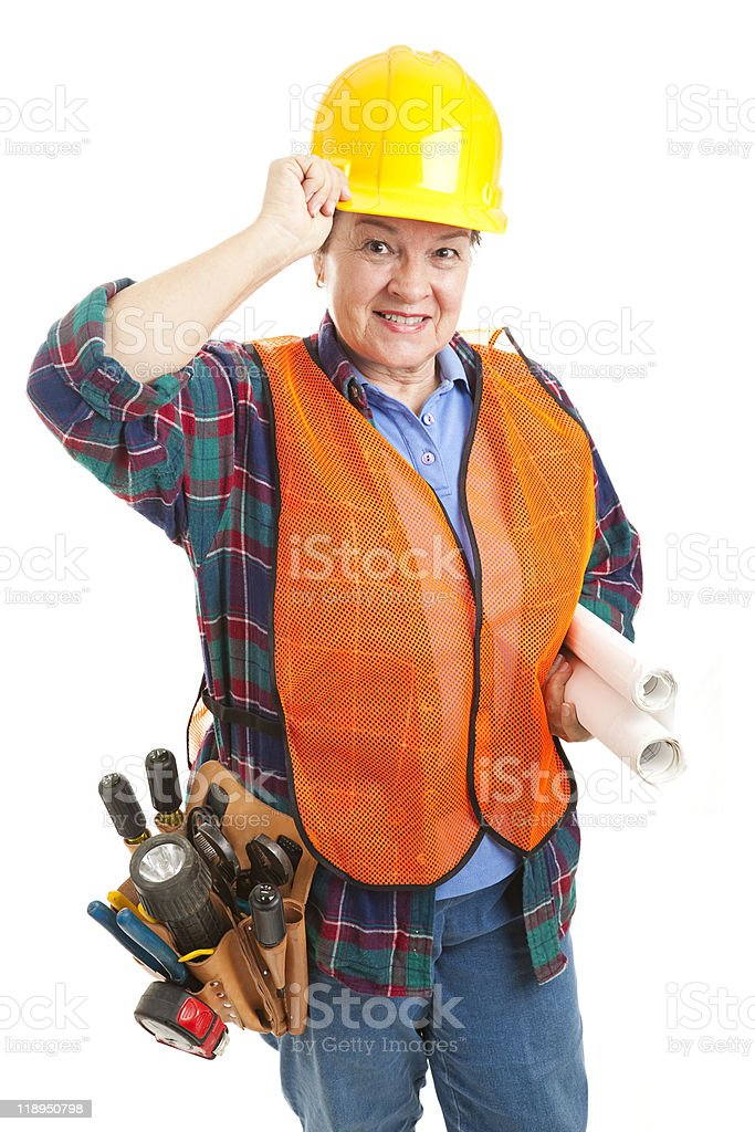 Polite Female Construction Worker royalty-free stock photo