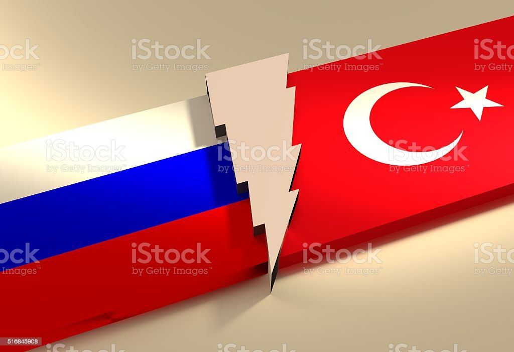 Politic relationship between Russia and Turkey stock photo