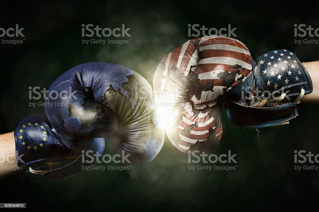 Political Crisis between USA and EU symbolized with Boxing Glove stock photo