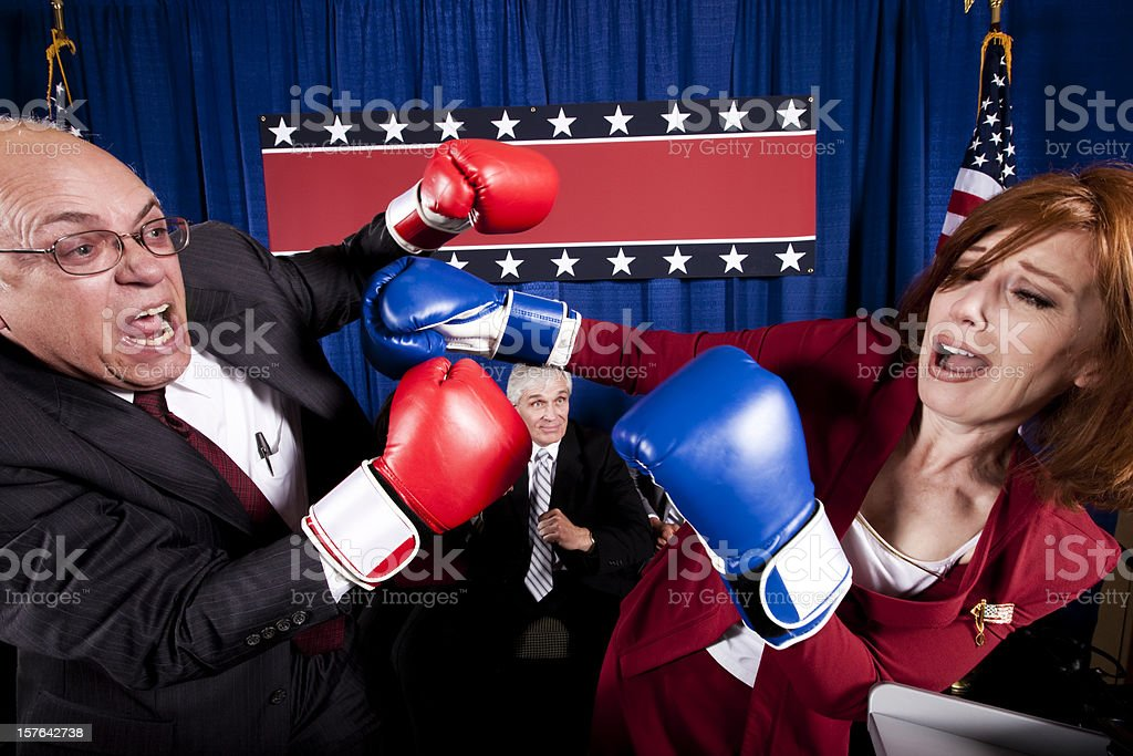 Political Debate Boxing Match stock photo