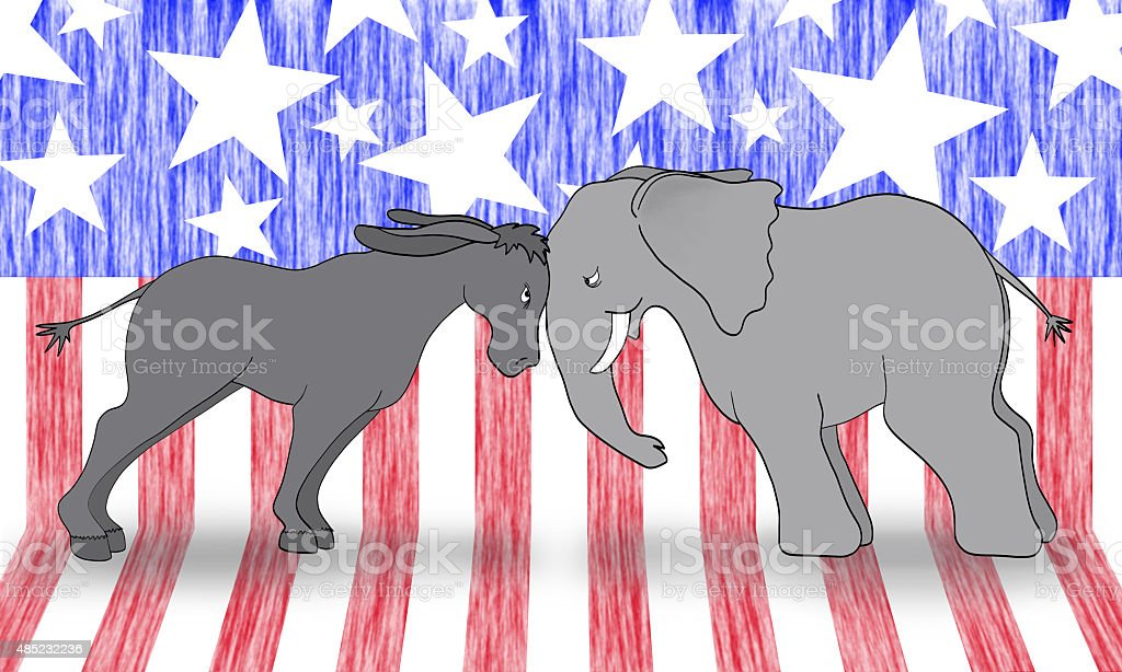 Political Debate Mascots stock photo
