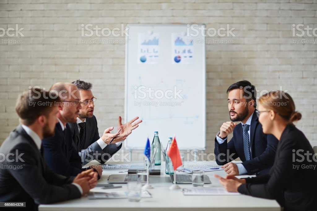 Political discussion stock photo