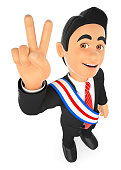 3D Political election winner. President