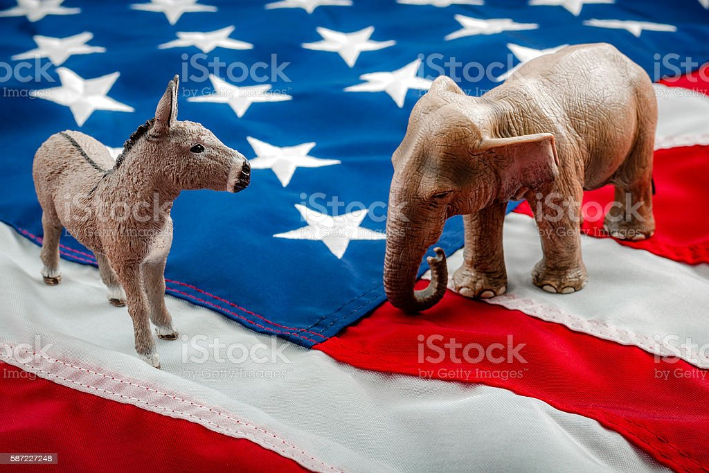 Political face off in November stock photo