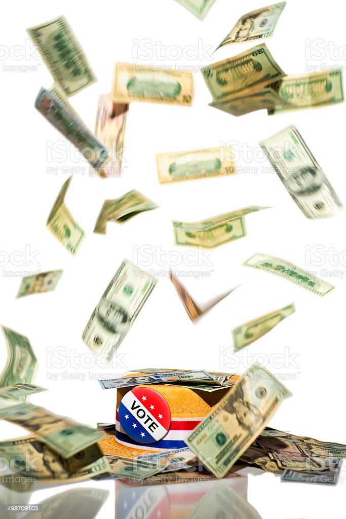 Political Fund Raising Falling Money stock photo