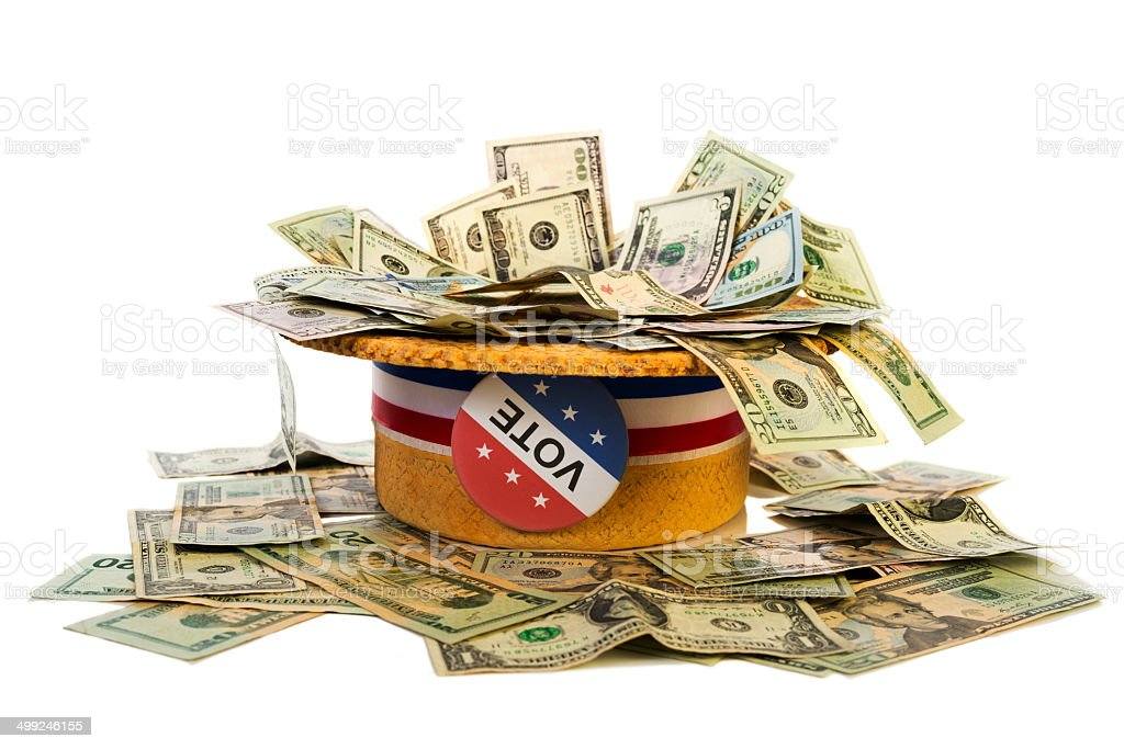 Political Fund raising - Skimmer hat full of money stock photo