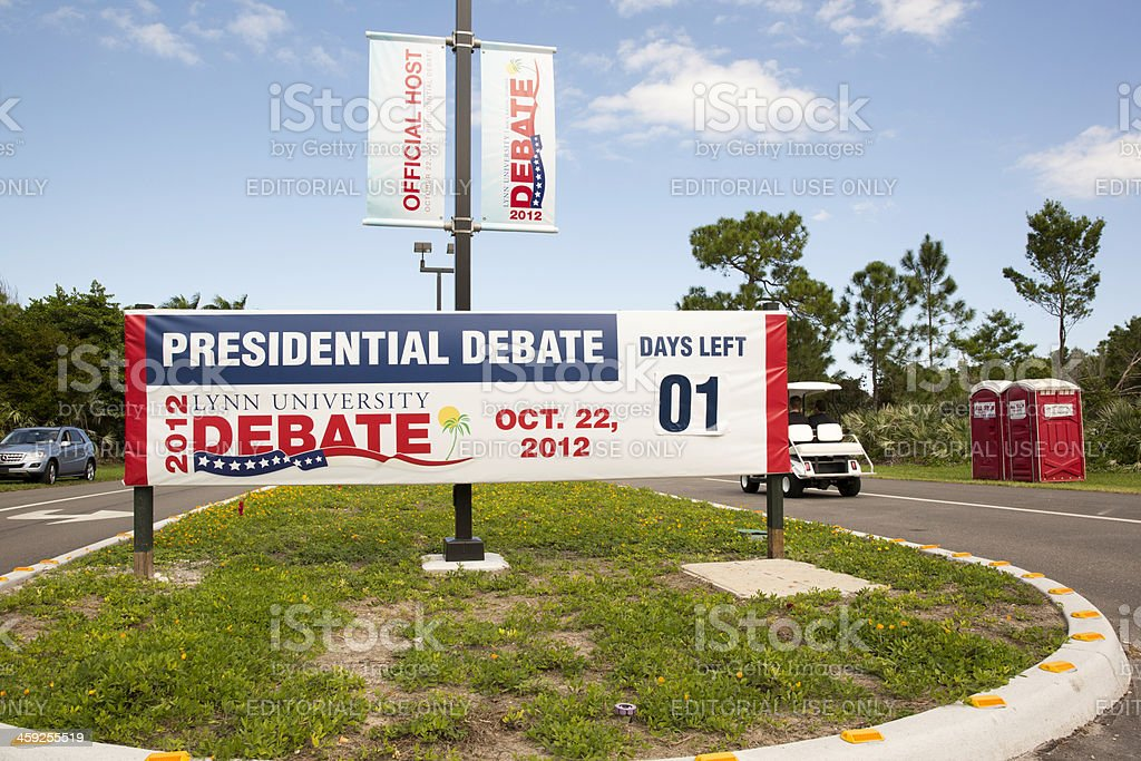 """Political Humor...The """"Shit"""" is going to Fly - presidential debate stock photo"""