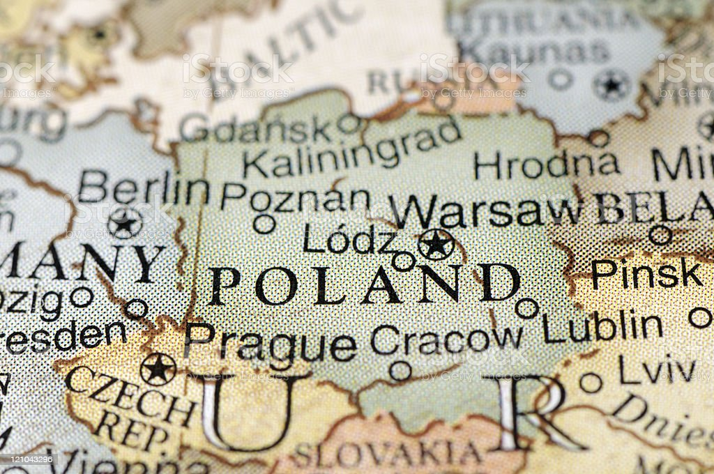 Political map focused on Poland stock photo