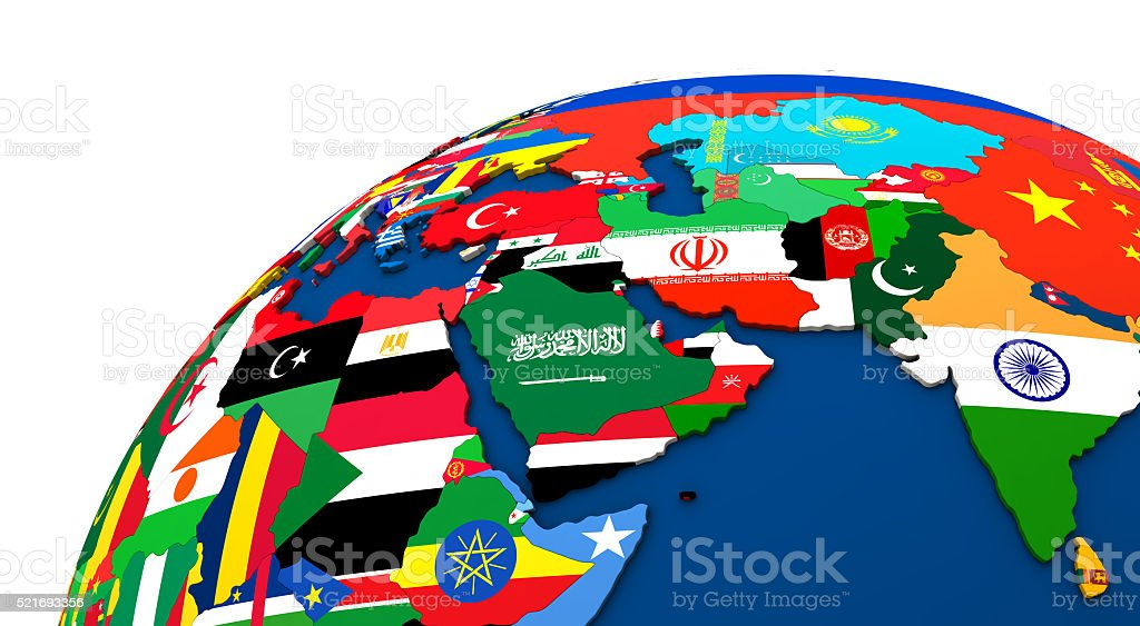 Political Middle East map stock photo