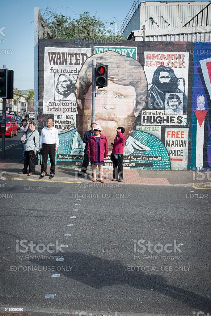 Political murals on the Falls Road, Belfast, Northern Ireland stock photo