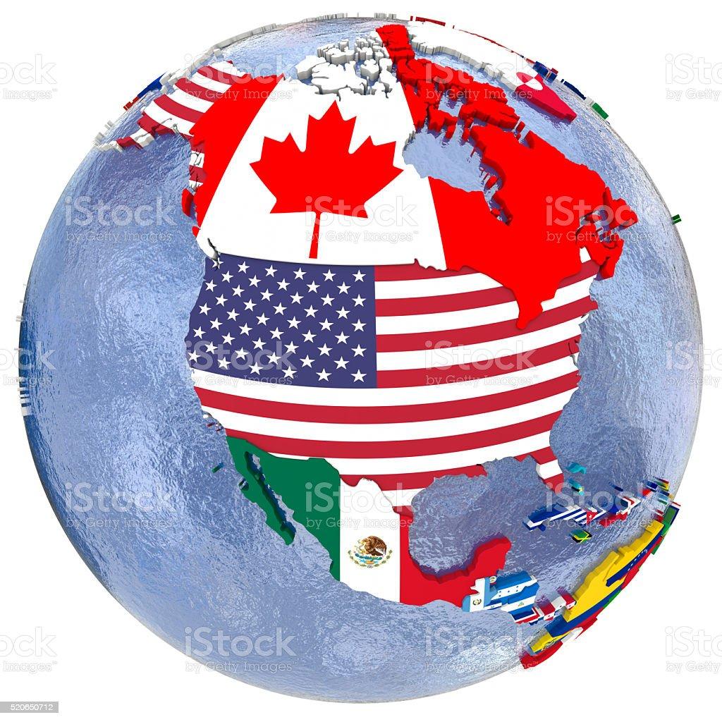 Political north America map stock photo
