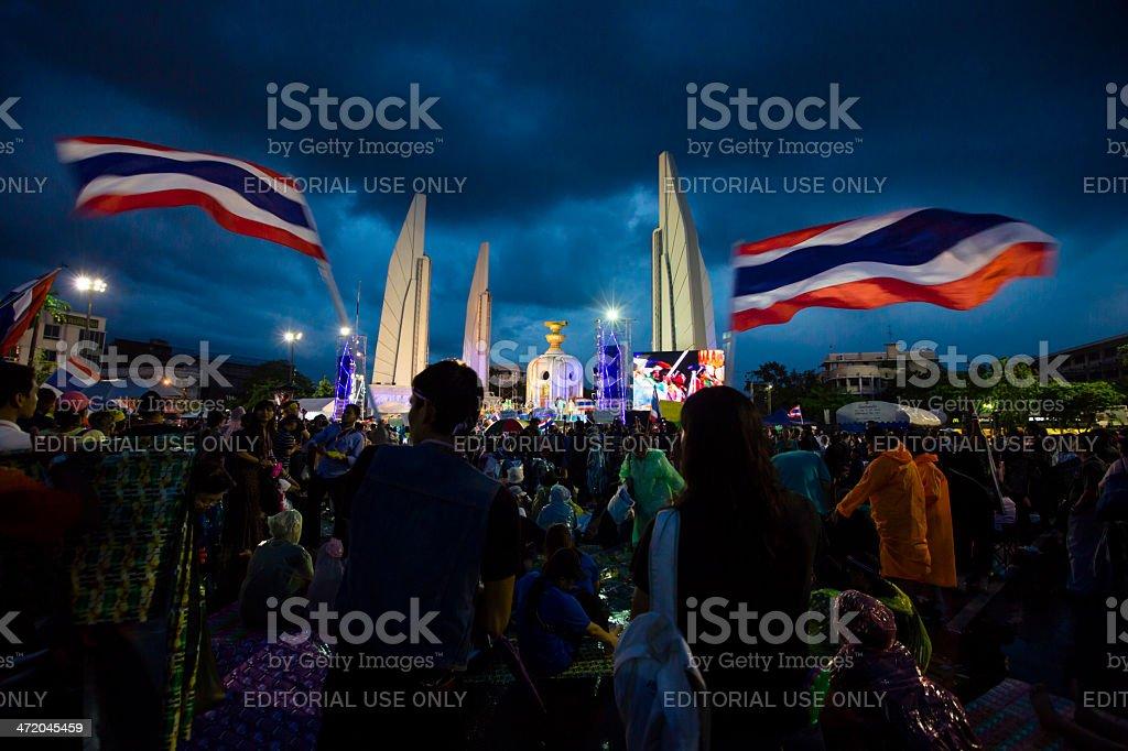 Political participation in Bangkok stock photo
