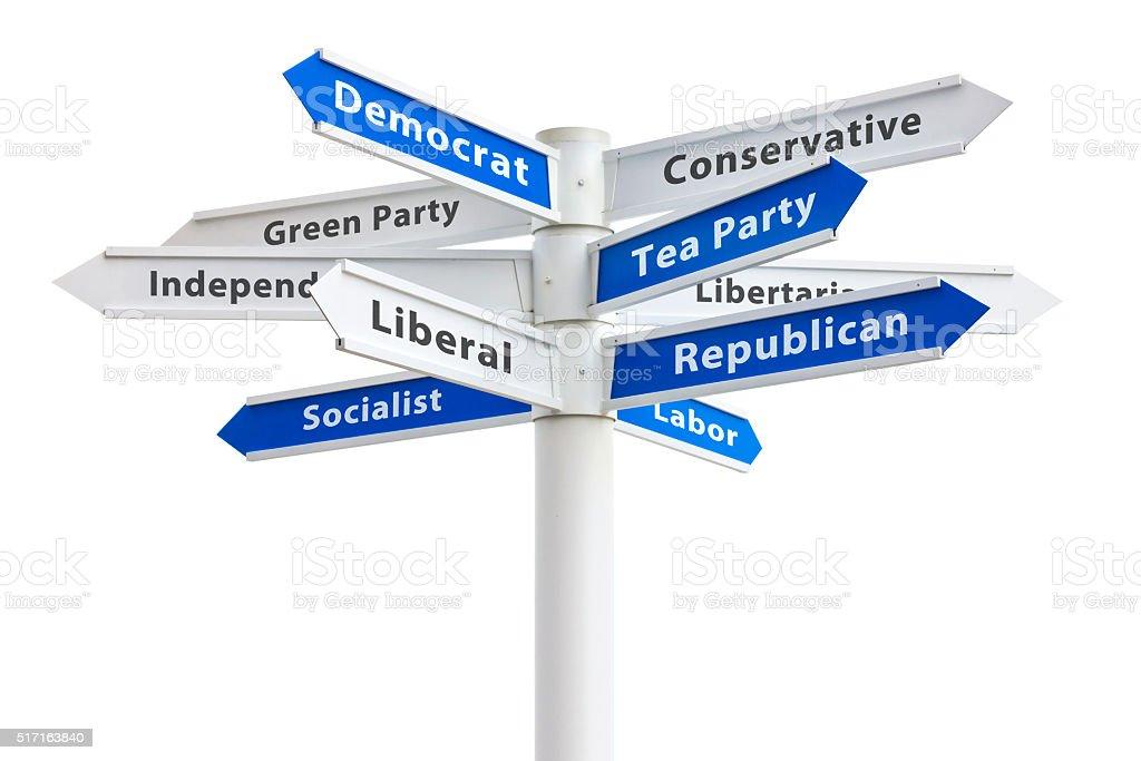 Political Parties Crossroads Sign Democrat and Republican stock photo