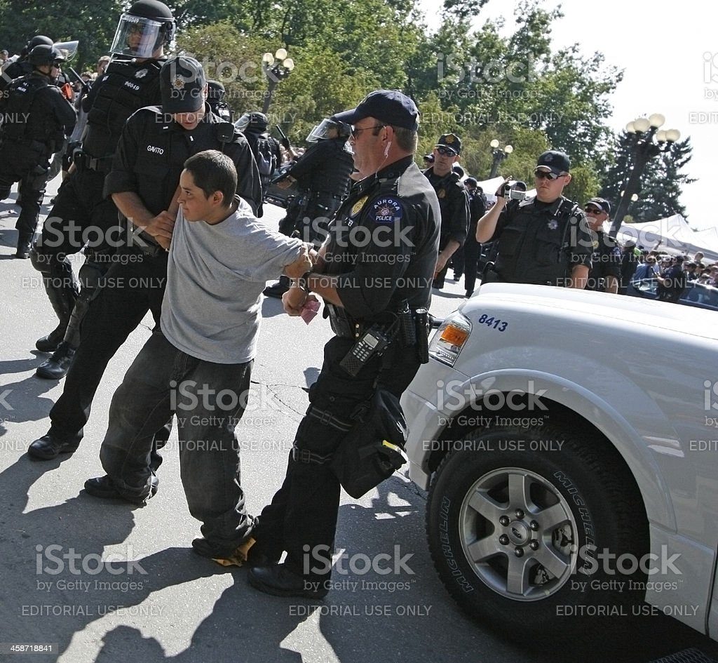 Political Rally Arrest stock photo
