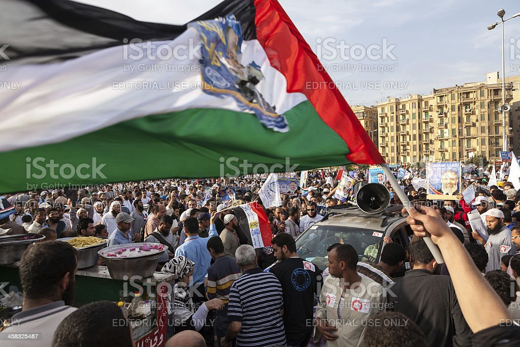 Political rally on Tahrir stock photo