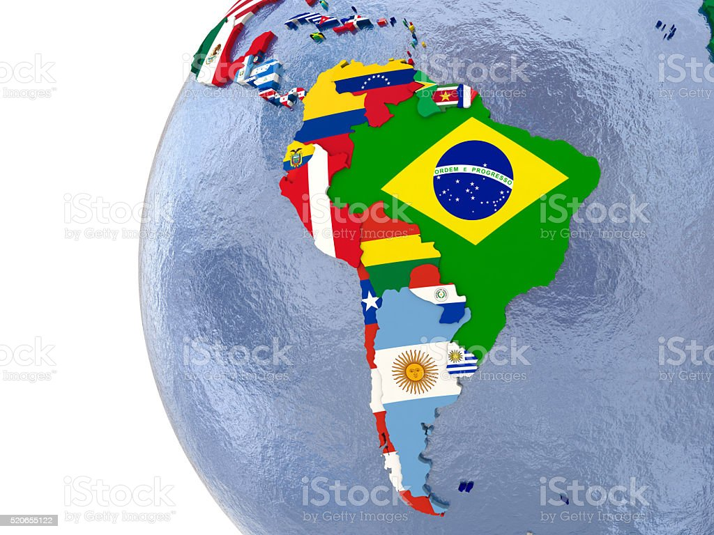 Political south America map stock photo