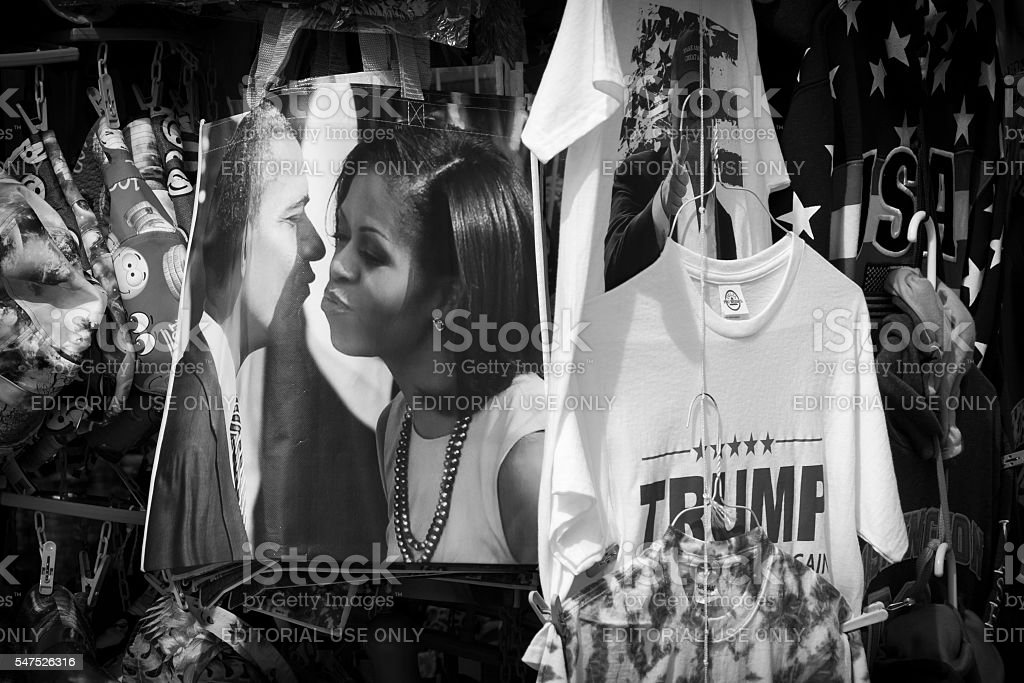 Political souvenirs for sale on sidewalk in Washington DC stock photo