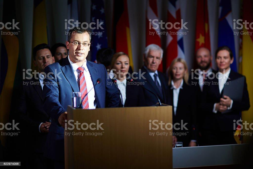 Political speech stock photo