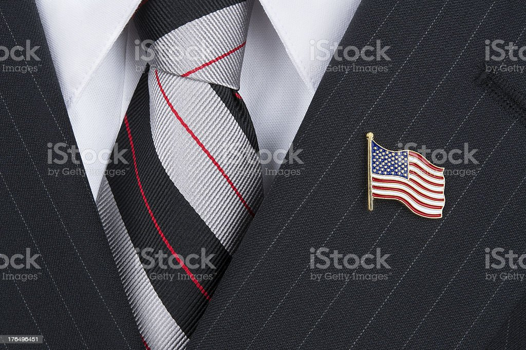 Politican wearing lapel pin stock photo